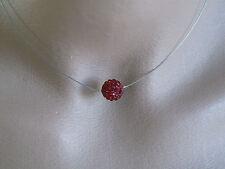 Collier Rouge Bordeaux Strass pr robe de Mariée/Mariage/Soirée  perle shamballa