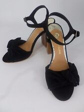 River Island Black Bow Front Block Heel Sandals UK 4 EU 37 Ln21 32