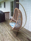 Vintage 1970's Rattan Hanging Chair w/ Original Cushions & Metal Support Frame