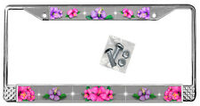 Hot Pink Purple Hibiscus On Silver License Plate Frame Gift Metal Flowers TXT