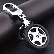 Hot Men Leather Car Keychain Creative 3D Tyre Alloy KeyRing Keyfob Car Key Chain