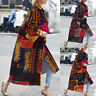 Women Oversize Casual Vintage Ethnic Cardigan Floral Print Jacket Coat Outwear