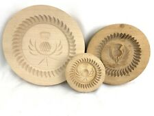 """Lot Of 3 Hand Carved Wood SPRINGERLE Cookie Board Round THISTLE -4.25""""-7"""" -8.75"""""""
