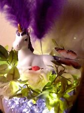 TABLE LAMP PURPLE UNICORN LIGHT LED CHILD KIDS GIRLS BEDROOM ROOM DECOR