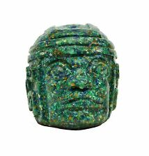 "Paper Weight-Olmec Head, Composite Malachite-3.5""H"