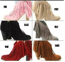 Women Frange Tassels Block High Heels Pointed Toe Cowboy Pull On Ankle Boots W88