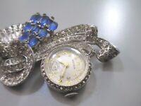 Vintage Aster Watch Brooch pin rhinestone Deco