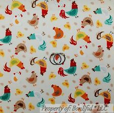 BonEful Fabric FQ Cotton Quilt Tan Red White Blue Chicken Rooster Hen Coop Egg S