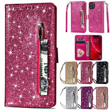 For iPhone 12 Pro Max 6s 7 8+ X 11 Bling Magnetic Flip Leather Wallet Case Cover