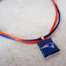 NFL NEW ENGLAND PATRIOTS FAN LOGO TILE CHARM PENDANT RED & BLUE SATIN NECKLACE