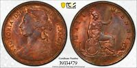 PCGS MS-64 RED-BN GREAT BRITAIN HALFPENNY 1/2 PENNY 1889