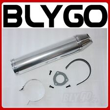 SILVER Alloy Exhaust Muffler + Clamp 200c 250cc 300cc Quad Dirt Bike ATV Buggy