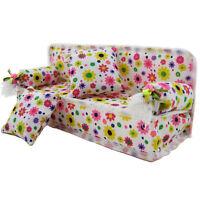 3pcs/Set Flower Sofa Couch For Barbie Dolls Vintage Dolls House Furniture