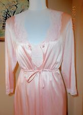 VANITY FAIR Pink Lace Peignoir Nightgown Gown & Robe Set Nylon Small S Bust 34