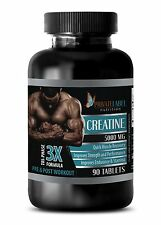 Creatine Powder 3X 5000mg Monohydrate Sports Supplements 90 Capsules 1 Bottle
