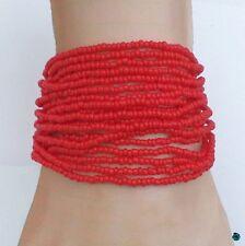 Bracelet Sangria Multirang Tibétain Rocailles Rouge Fil Crocheté Fermoir Bouton