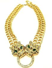 Statement Chunky Long Big Large Gold Tiger Lion Head Crystal Chain Necklace