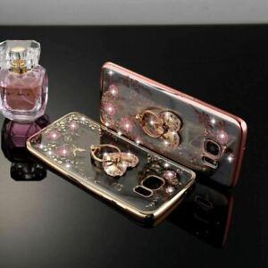 For Samsung S20 Plus S10 S9 S8 S7 S6 Diamond Flower Ring Holder Soft Case Cover