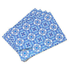 Set of Cork Placemats Table Place Settings Mats Moroccan Tiles Blue White Floral 4 X Placemats