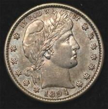 1894-S Barber Quarter:  strong AU, lightly toned, undervalued!