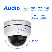 5MP 5X Zoom 1080P Wired IP Camera Dome Security CCTV PTZ HD IR Audio Outdoor POE