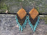 beaded earrings, Native american style Beadwork, native style earrings seed bead