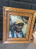 Antique TIGER OAK frame 12 x 14, 8x10 rabbet, w/ glass, Indian chief color image