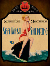 Sea West Shipping Pin Up Model Ship Boat Saling Ocean Vintage Metal Sign