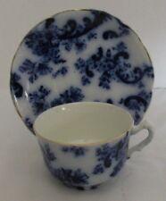 "MERCER SEMI VITREOUS FLOW BLUE PAISLEY CUP (4 1/2""D) AND SAUCER (6 1/4""D) (9 AVA"