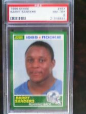 1989 score barry sanders psa 8 nm/mint ( lot of 3 ) new cases, just photo glare.