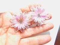 Mid Century Lavender Soft Plastic Rhinestone Flower Clip On Earrings Vintage