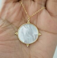 Women 14k Yellow Gold Round Mother Of Pearl Diamond Accents Pendant Necklace