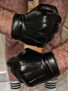 man wrist button real Italy leather lamb skin short gloves in black