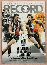 COLLINGWOOD V WEST COAST AFL 2011 1ST QUALIFYING FINAL RECORD PIES V EAGLES MCG