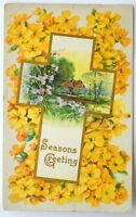 Old Easter greetings postcard antique divided back cross yellow flowers 1912