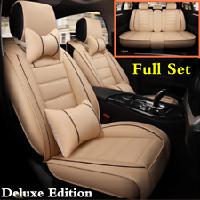 Full Set Car Seat Cover Beige PU Leather Mat W/ Pillows For Auto Chair Cushion