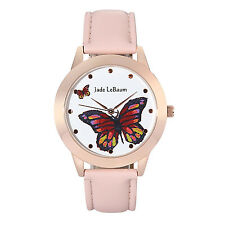 Ladies Pink Leather Watch Big Butterfly Dial Rose Gold Reloj de Pulsera Mujer