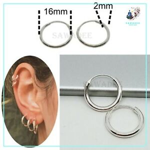 Orecchini donna a cerchio per uomo cerchietti in argento 925% diametro 16mm