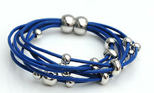 Genuine leather multi layer magnetic clasp with silver plated copper beads