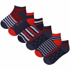 Boys 6 Pack Stars and Stripes Trainer Liner Socks Design Red Navy Cotton Rich