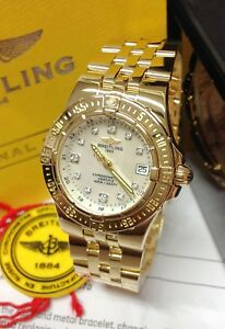 Breitling Starliner K71340 30mm Diamond Dial Gold 2008 With Papers SERVICED