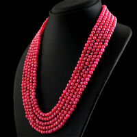 651.50 CTS EARTH MINED 5 STRAND GENUINE RED RUBY ROUND SHAPE BEADS NECKLACE