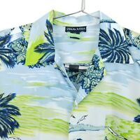 OSCAr MISA Aloha Shirt Hawaiian Size XXL Blue Green Palm Trees