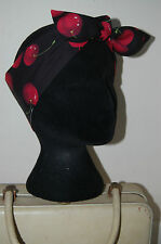 red cherry rockabilly lindy hop dolly bop bow head scarf 50s pinup hair wrap 40s