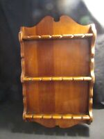 Vintage Wooden Spoon Holder Rack Souvenir Spoons Wall Hanging Shelf Holds18