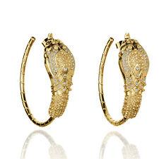 Costume Fashion Earrings Creole Snake Big Rhinestone Baroque Vintage