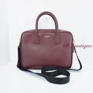 NWT Michael Kors Mens Warren Compact Briefcase Laptop Bag Leather Rouge Red $398