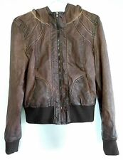 FOREIGN EXCHANGE Womens Brown Faux Oiled Leather Hooded Jacket S Short