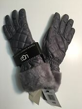 Ugg Women's gray fur Quilted Fontanne Smartphone waterproof Gloves S/M
