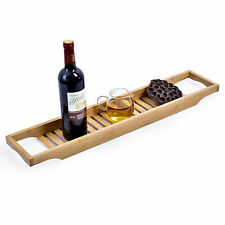 Bathroom Bamboo Bath Caddy Book Wine Glass Holder Tray Over Bathtub Rack Support